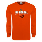 Orange Long Sleeve T Shirt-Basketball Net Design