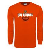 Orange Long Sleeve T Shirt-Basketball Net Design