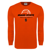 Orange Long Sleeve T Shirt-Volleyball Ball Design