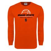 Orange Long Sleeve T Shirt-Volleyball Ball Design