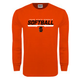 Orange Long Sleeve T Shirt-Softball Bar Design