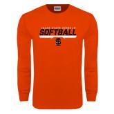 Orange Long Sleeve T Shirt-Softball Bar Design