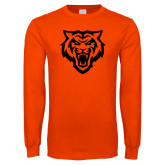 Orange Long Sleeve T Shirt-Primary Athletics Mark - One Color
