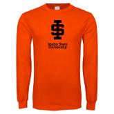 Orange Long Sleeve T Shirt-Instituional Mark Stacked