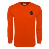 Orange Long Sleeve T Shirt-Interlocking IS