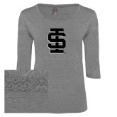 Ladies Grey Heather Tri Blend Lace 3/4 Sleeve Tee-Interlocking IS