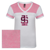 Ladies White/Bright Pink Juniors Varsity V Neck Tee-Interlocking IS Foil