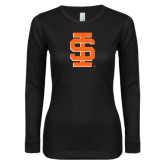 Ladies Black Long Sleeve V Neck Tee-Interlocking IS