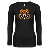 Ladies Black Long Sleeve V Neck Tee-Bengal Head