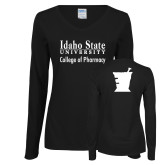 Ladies Black Long Sleeve V Neck T Shirt-Idaho State University College Pharmacy