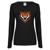Ladies Black Long Sleeve V Neck Tee-Primary Athletics Mark