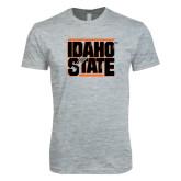 Next Level SoftStyle Heather Grey T Shirt-Idaho State Block