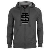 Charcoal Fleece Full Zip Hoodie-Interlocking IS