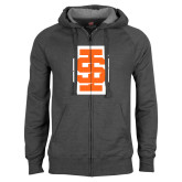 Charcoal Fleece Full Zip Hoodie-Interlocking IS - Two Color