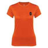 Ladies Syntrel Performance Orange Tee-Interlocking IS