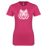 Ladies SoftStyle Junior Fitted Fuchsia Tee-Bengal Head