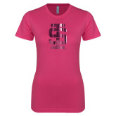 Ladies SoftStyle Junior Fitted Fuchsia Tee-Interlocking IS Foil