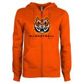 ENZA Ladies Orange Fleece Full Zip Hoodie-Baseketball