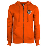 ENZA Ladies Orange Fleece Full Zip Hoodie-Primary Athletics Mark