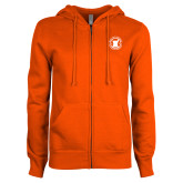 ENZA Ladies Orange Fleece Full Zip Hoodie-Pharmacy Seal