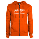 ENZA Ladies Orange Fleece Full Zip Hoodie-Idaho State University College Pharmacy
