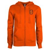ENZA Ladies Orange Fleece Full Zip Hoodie-Interlocking IS - Two Color