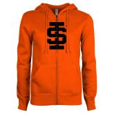 ENZA Ladies Orange Fleece Full Zip Hoodie-Interlocking IS - One Color