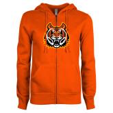 ENZA Ladies Orange Fleece Full Zip Hoodie-Bengal Head