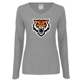 Ladies Grey Long Sleeve V Neck Tee-Primary Athletics Mark