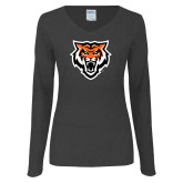 Ladies Dark Heather Long Sleeve V Neck Tee-Primary Athletics Mark