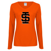 Ladies Orange Long Sleeve V Neck Tee-Interlocking IS