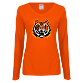 Ladies Orange Long Sleeve V Neck Tee-Bengal Head