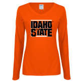 Ladies Orange Long Sleeve V Neck Tee-Idaho State Block