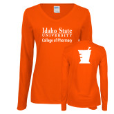 Ladies Orange Long Sleeve V Neck T Shirt-Idaho State University College Pharmacy