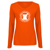 Ladies Orange Long Sleeve V Neck Tee-Pharmacy Seal