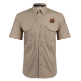 Khaki Short Sleeve Performance Fishing Shirt-Bengal Head
