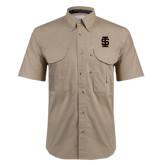 Khaki Short Sleeve Performance Fishing Shirt-Interlocking IS