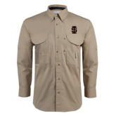 Khaki Long Sleeve Performance Fishing Shirt-Interlocking IS