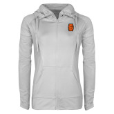 Ladies Sport Wick Stretch Full Zip White Jacket-Interlocking IS - Two Color