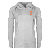 Ladies Sport Wick Stretch Full Zip White Jacket-Interlocking IS