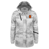 Ladies White Brushstroke Print Insulated Jacket-Interlocking IS - Two Color