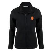 Ladies Black Softshell Jacket-Interlocking IS