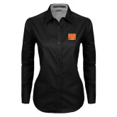 Ladies Black Twill Button Down Long Sleeve-Idaho State Block