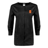 Ladies Black Snap Front Warm Up Scrub Jacket-Interlocking IS