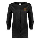 Ladies Black Snap Front Warm Up Scrub Jacket-Bengal Head