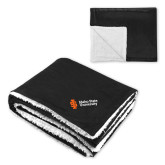 Super Soft Luxurious Black Sherpa Throw Blanket-Institutional Mark