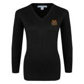 Ladies Black V Neck Sweater-Bengal Head