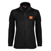 Ladies Fleece Full Zip Black Jacket-Idaho State Block
