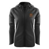 Ladies Tech Fleece Full Zip Black Hooded Jacket-Bengal Head