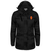 Ladies Black Brushstroke Print Insulated Jacket-Interlocking IS